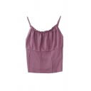 Novelty Girls Solid Color Pleated Lace Trim Detail Round Neck Sleeveless Slim Fit Crop Cami Top