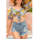 Fancy Womens Allover Floral Print Short Sleeve Sweetheart Neck Drawstring Front Slim Fit Cropped Tee Top in Yellow