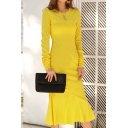Boutique Ladies Solid Color Long Sleeve Round Neck Ruffled Mid Fishtail Dress