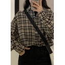 Popular Plaid Printed Long Sleeve Spread Collar Button-down Loose Fit Shirt Top in Khaki