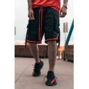 Mens Unqiue Color Block Mesh Drawstring Zipper Relaxed Fit Knee-length Sweat Shorts with Pocket