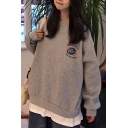 Popular Fake Two Piece Letter Dr Pepper Print Long Sleeve Crew Neck Loose Fit Pullover Sweatshirt for Women
