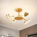 Loving Heart Shape Semi Mount Lighting Nordic Metallic LED Gold Close to Ceiling Lamp