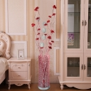 Red/Gold LED Standing Light Art Deco Aluminum Wire Lotus and Vase Floor Light for Bedside