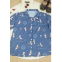 Vintage Girls English Letter Cartoon Rabbit Printed Button Down Collar Short Sleeve Regular Fit Graphic Shirt in Blue