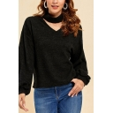 Cool Womens Black Blouson Sleeve Mock Neck Cut-out Relaxed Fit Knit Pullover Sweatshirt