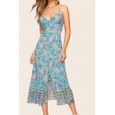 Ethnic Womens Allover Flower Print Slit Front Ruffled Trim Mid A-line Cami Dress in Blue