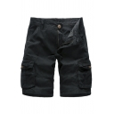Fancy Mens Shorts Solid Color Flap Pocket Zipper Button Mid Rise Fitted Cargo Shorts