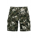 Chic Shorts Camo Starfish Seahorse Pattern Flap Pocket Drawstring Button Zipper Mid Rise Regular Fit Cargo Shorts for Men
