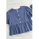 Cute Girls Solid Color Button Ruffle Cuff Crew Neck Short Sleeve Loose Fit Smock Shirt with Hair Ring