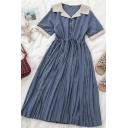 Elegant Girls Button Ruched Drawstring Patchwork Lapel Neck Short Sleeve Midi Pleated Dress