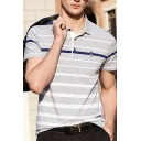 Stylish Mens Polo Shirt Striped Character Embroidery Button Short Sleeve Turn down Collar Regular Fitted Polo Shirt