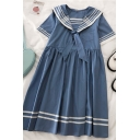 Chic Girls Bow Contrast Stitching Striped Pleated Pocket Sailor Collar Short Sleeve Midi Swing Dress