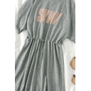 Sport Womens Letter Svwv Drawstring Pleated Crew Neck Short Sleeve Short A Line Dress in Gray