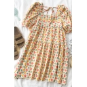 Chic Girls Ditsy Floral Printed Pleated Tiered Tie Back Square Neck Short Puff Sleeve Midi Oversized Smock Dress in Yellow