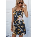 Black Popular Leaf Floral Print Stringy Selvedge Backless Spaghetti Straps Sleeveless Mini Sheath Slip Dress for Women