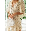 Stylish Womens All over Print Ruched Stringy Selvedge Embellished V Neck Half Puff Sleeve Chiffon Mini A-Line Dress