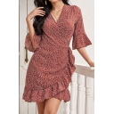 Burgundy Popular Ditsy Floral Print Tie Waist Ruffle Surplice Neck Half Sleeve Mini Sheath Wrap Dress for Women
