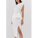 Elegant Ladies White Sleeveless Crew Neck Ruffled Ruched Patchwork Slit Side Mid Sheath Dress