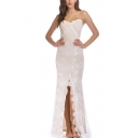 Sexy Womens Applique Spaghetti Straps Slit Front Maxi Fishtail Cami Dress in White