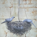 5 Lights Bird Nest LED Multi-Pendant Art Deco Silver Finish Aluminum Wire Ceiling Hang Fixture