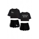 Stylish Womens Japanese Letter Footprint Graphic Relaxed Crop Tee & Contrasted Shorts Set