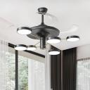Drum Living Room Ceiling Fan Light Metal 6/8 Lights Modernist LED Semi Flush Lamp in Black with 4 Blades, 42.5