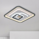 Modern Multi-Square Flush Ceiling Light Acrylic LED Flushmount Lighting in Black-White with Crystal Accent