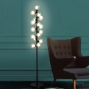 Modernist LED Standing Light with Clear Glass Shade Black Finish Bubble Floor Lighting