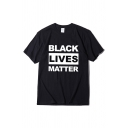 Street Womens Letter Black Lives Matter Printed Short Sleeve Crew Neck Loose Fit Tee Top