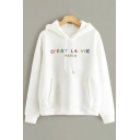 Leisure Letter O'est La Vie Paris Printed Long Sleeve Drawstring Kangaroo Pocket Hoodie in White