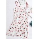 White All over Cherry Pattern Spaghetti Straps Mini A-line Chic Cami Dress for Girls