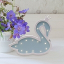 Kids Handmade Swan Wood Night Light Small Battery Powered LED Wall Lighting in Pink/Blue