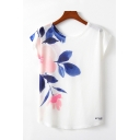 Simple Womens Flower Printed Short Sleeve Round Neck Relaxed Fitted T-shirt in White