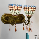 2-Light Bathroom Wall Lighting Tiffany Brass Sconce Lamp with Bell Blue Cut Glass Shade