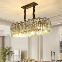 Crystal-Rectangle Elongated Island Light Modernism 6 Bulbs Dining Room Pendant Lamp in Black