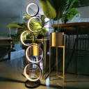 White/Black Stacked Rings Floor Lamp Contemporary LED Acrylic Standing Floor Light in White/Warm/Natural Light
