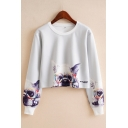 Cartoon Dog Character Printed Long Sleeve Crew Neck Relaxed Cropped Popular Pullover Sweatshirt in White