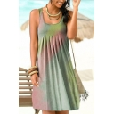Leisure Womens Tie Dye Printed Scoop Neck Short Pleated Tank Dress