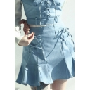 Pretty Ladies Lace up High Waist Ruffled Short Pleated A-line Skirt in Blue