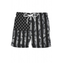 Stylish Mens Flag 3D Pattern Drawstring Waist Relaxed Fit Shorts