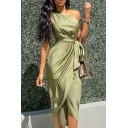 Special Occasion Womens Solid Color One Shoulder Bow Tie Waist Mid Wrap Dress in Green