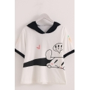 Cute Girls Rabbit Carrot Printed Contrasted Short Sleeve Ears Hooded Loose T Shirt in White