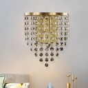 Draped Crystal Octagons Sconce Light Modern 1 Bulb Family Room Wall Lighting Fixture in Brass