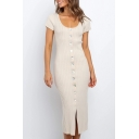 Formal Solid Color Short Sleeve Scoop Neck Button up Knitted Mid Bodycon Dress for Women