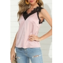 Pretty Ladies Lace Patched Sleeveless V-neck Loose Tank Top