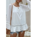 Womens Fashion White Lace Patched Bell Sleeve Round Neck Bow Tie Cut out Ruffled Loose T Shirt