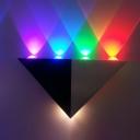 Black and Silver Pyramid Wall Light Modern Novelty Metallic LED Wall Mount Lighting in RGB Light