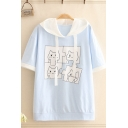 Lovely Cartoon Cat Printed Contrasted Short Sleeve Drawstring Hooded Relaxed Fit T Shirt in Blue
