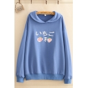 Preppy Girls Japanese Letter Graphic Long Sleeve Turn down Collar Loose Fit Pullover Sweatshirt